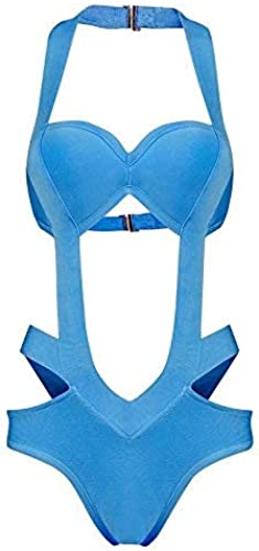 Qiusa Maillot de Bain Une pièce est égaleHommest exposé Maillot de Bain plage Resort en métal Snaps, Bleu, S (Couleuré   comme montré, Taille   Taille Unique)