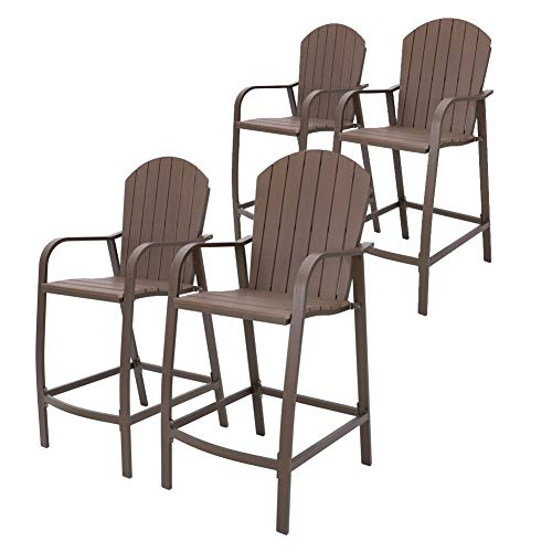 Crestlive Products Counter Height Bar Stools All Weather Patio Furniture with Heavy Duty Aluminum Frame & Polywood in Brown Finish for Outdoor Indoor, 4 PCS Set (Brown)