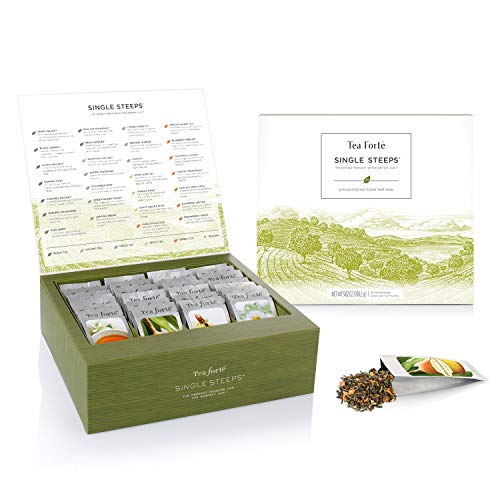 Tea Forte Classic Teas Single Steeps Tea Chest Variety Gift Box, Loose Tea Sampler with 28 Assorted Teas, Black Tea, Green Tea, White Tea, Herbal Tea