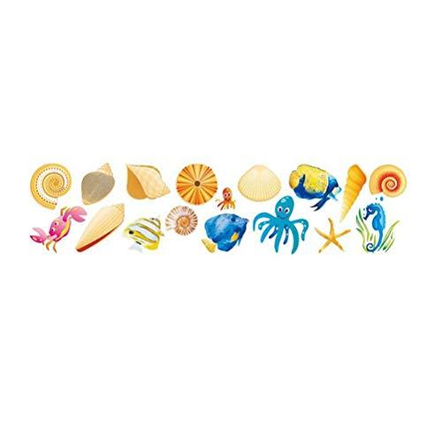 STOBOK Pegatinas de Pared DIY Mar Animal Patrón Calcomanía de Pared Extraíble Peel and Stick Vinilos para Niños Pequeños Baño Dormitorio Ventana Bebé Guardería Niños Aula