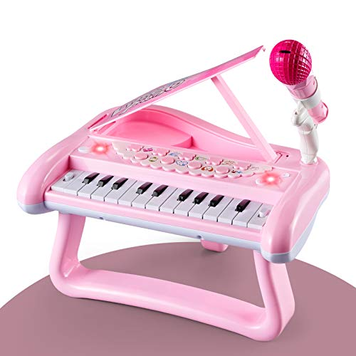 ZMZS First Birthday Toddler Piano Toys for 1 Year Old Girls, Baby Musical Keyboard 22 Keys Kids Age 1 2 3 Play Instrument with Microphone
