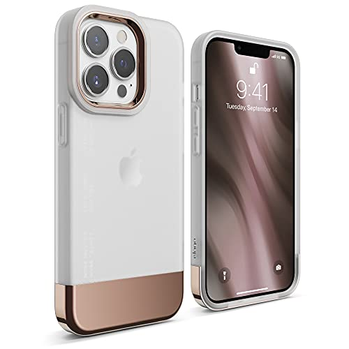 elago Glide Compatible with iPhone 13 Pro Case 6.1 inch, Protective Thin TPU Cover, Shockproof, Enhanced Camera Guard, Anti-Scratch, Multi-Color Options, Simple Design (Frosted Clear/Rose Gold)