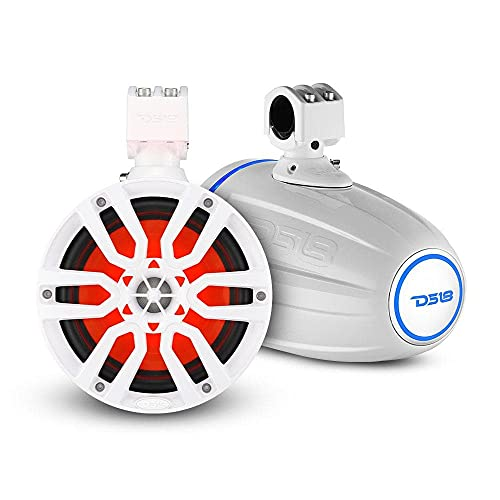 """DS18 NXL-X8TP/WH Hydro 8"""" Marine Towers Speaker with Integrated RGB LED Lights High Performance, Marine Grade IP65 Rated, 375 W Max 125 W RMS 4 Ohms (Pair)"""