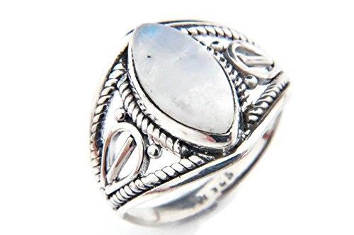 Ring Silber 925 Sterlingsilber Regenbogen Mondstein weiß Stein (Nr: MRI 70), Ringgröße:50 mm/Ø 15.9 mm