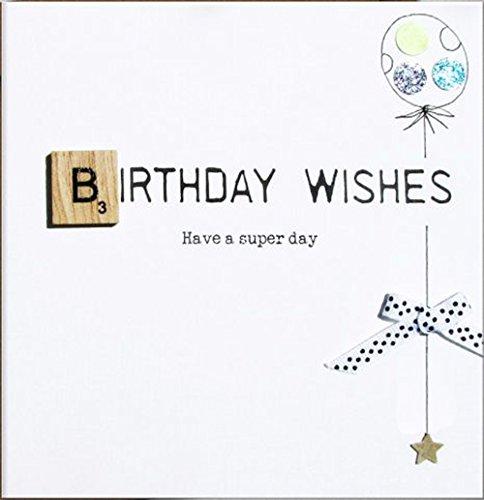 Bexybo wenskaart voor verjaardag veredeld met een originele Scrabble-steen van hout. Een hoogwaardige en originele verjaardagskaart met kristallen en strik, ook voor cadeaubon of geldgeschenk. BX002