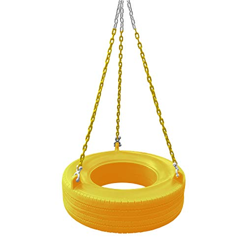 Gorilla Playsets 04-0015-Y/Y 360° Turbo Tire Swing with Plastic Coated Chains, Spring Clips, and Swivel - Yellow