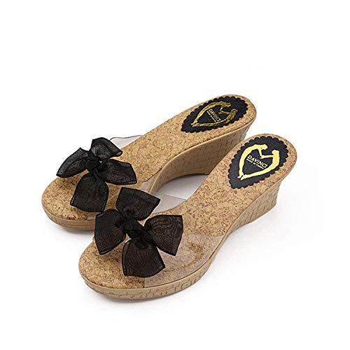 LIUCHANG Flip Flops clásico de la Moda, de la Playa Impermeable l Sandalias, Sandalias de la Princesa Dulce y Zapatillas-Black_35, Antideslizantes Unas Zapatillas de baño liuchang20