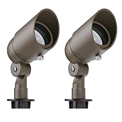 Lumina 4W LED Landscape Lights Cast-Aluminum Waterproof Outdoor Low Voltage Spotlights for Walls Trees Flags Light with Warm White 4W MR16 LED Bulb and ABS Ground Stake Bronze SFL0104-BZLED2 (2PK)