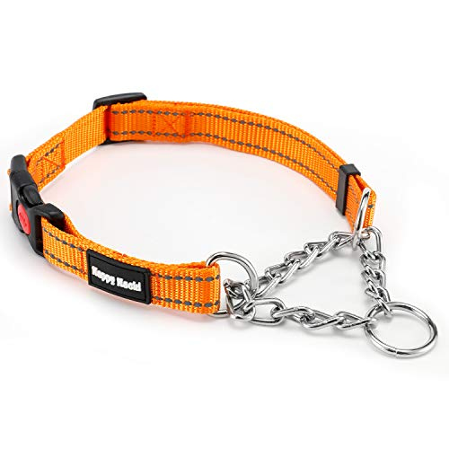 Louvra Collar de Perro Arnés de Perro Durable SBR Acolchado del Material Nailon, 3M Reflecante, Tamaño L, Color Naranja ✅