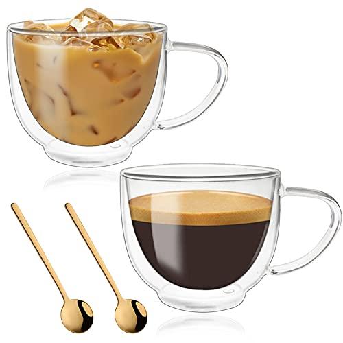 Juego de 2 tazas de café de cristal con mango grande, vasos para café y té, tazas de café de doble pared aisladas para café y té, para café con café y café