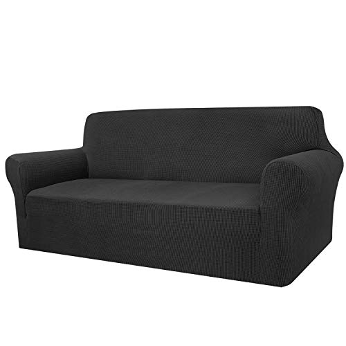 Granbest High Stretch Sofa Covers 3 Seater Super Soft Stylish Couch Covers for Dogs Pets Cats Jacquard Spandex Non Slip Sofa Slipcover for Living Room Furniture Protector (3 Seater, Black)