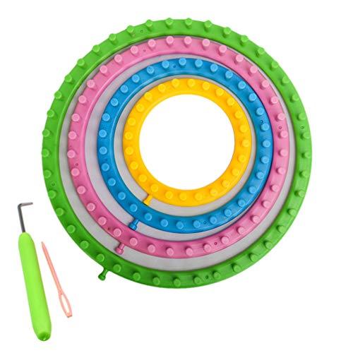 HEALLILY - Juego de telares circulares para tejer, redondos, kit de manualidades con gancho, para hacer pompones, bufandas, calcetines, suéter de 6 piezas