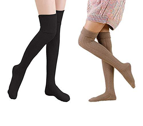 Yuccer 2 Pares Calcetines Largos Mujeres Algodón