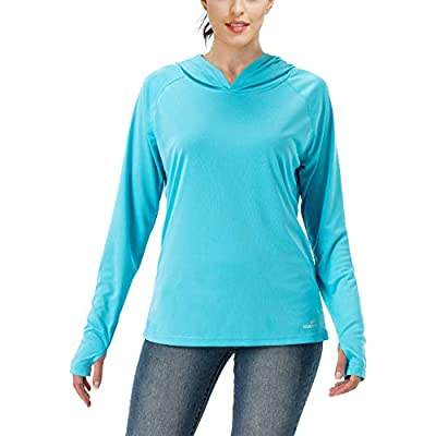 Women's UPF 50+ UV Sun Protection Hoodie Long Sleeve Hiking Shirt Outdoor Performance Running Fishing Hoodie (Baby Blue, L)