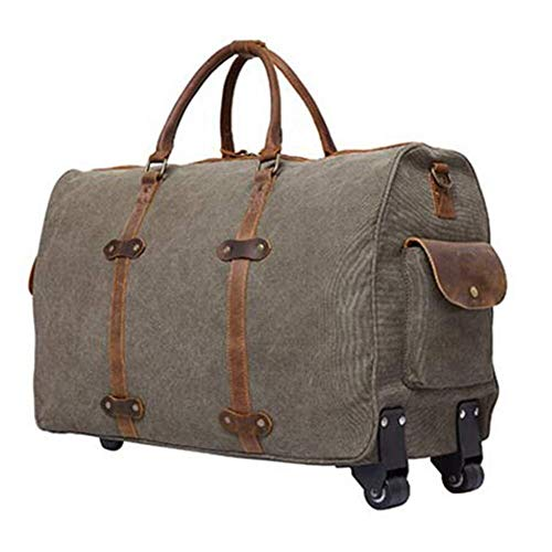 GQY Trolley suitcase - wheeled backpack fashion business travel bag hand luggage trolley (Color : Brown, Size : 58 * 24 * 37cm)
