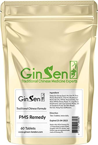 GinSen Natural & Effective PMS Remedy Relief for Women, Helps with Regulate Period Cycle, Reduces Pain, Eases Stress, Anxiety and Headaches, Herbal Supplement, Chinese Medicine, Made in UK (60 Tabs)