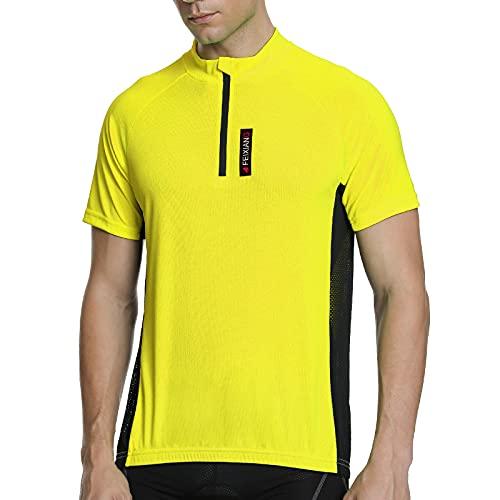 Meetwee - Camiseta de ciclismo para hombre, manga corta para bicicleta de montaña amarillo L