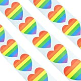 Amosfun 500pcs gay pride stickers rainbow lgbt sticker roll love heart shape label stickers roll for gay pride rainbow party favors regalos