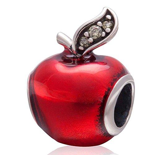 Kerstmis Apple-Authentiek .925 Sterling Zilver Bedels Apple met Transparant Rood Emaille en Groene Cz Steen Past op Europese Armbanden Ketting