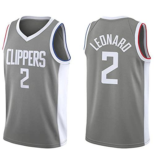 CYQQ Edición de Bonificación Gris, Clippers # 2 DKawhi Leonard, Ropa Camisetas de Baloncesto para Hombres, clásico Transpirable Chaleco de Secado rápido Confort Camiseta(Size:L,Color:A1)