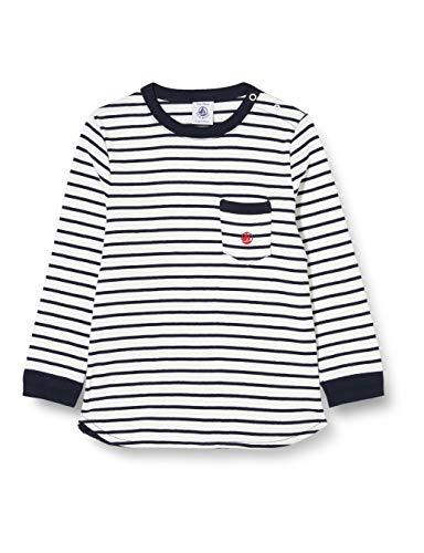 Petit Bateau 5624701 Baby-T-Shirt für Jungen Gr. 80, Marshmallow/Smoking
