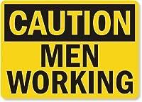 安全標識-注意-働く男性。 金属スズサインUV保護および耐候性、通知警告サイン