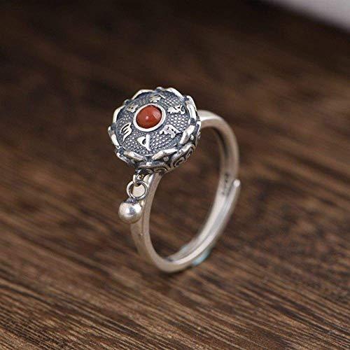 Anillos abiertos para mujer plata de ley 925 artesanías de plata tailandesa vintage seis palabras mantra con incrustaciones de rueda de oración anillo ajustable de ónix rojo joyería de moda regalos