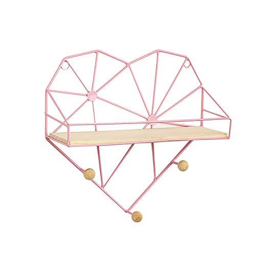 Hartvormige Drijvende Planken Multifunctionele Wandkapstokkenrek Creatieve Metalen Drijvende Wandplank Wanddecoratie Voor Slaapkamer Woonkamer Badkamer,Pink