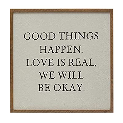 Creative Co-op Wood Framed Good Things Happen… Wall Décor, Multi Color
