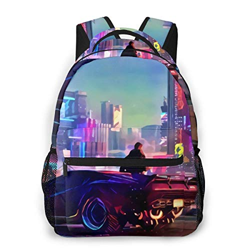 City Punk 2077 Samurai Backpack Water Resistant Lightweight Cloth Casual Unisex