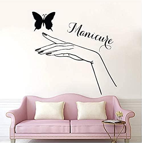 Vinile Murale Adesivi murali autoadesivi impermeabili Nail Art Manicure Ragazza Mano Farfalla Salone di bellezza Negozio di unghie Cartello 56*57 cm