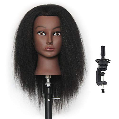 HAIREALM Afro Mannequin Head 100% Real Hair Hairdresser Training Head Manikin Cosmetology Doll Head (Table Clamp Stand Included) DK0212D