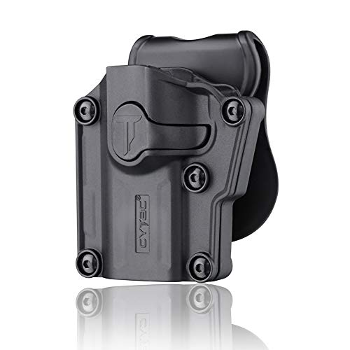CYTAC Tactical OWB Paddle Holster, 360° Adjustable Polymer Belt Holster for Colt 1911 Beretta Bersa CZ FN Girsan Hi-Point Kahr Ruger Sig-Sauer Smith&Wesson Springfield Steyr Taurus Walther & More -LH