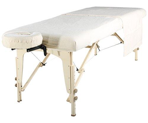 Master Massagetisch Flanell Blatt Set 3 in 1 Liegedecke, flache Platte, Gesichts-Kissenbezug Weiß