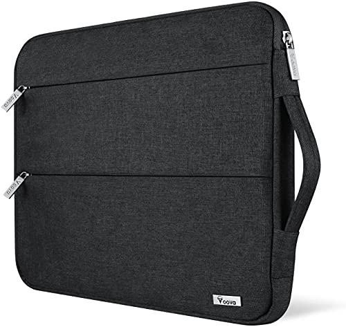 Voova Funda para portátiles 13-13.3 Pulgadas con Asa, Impermeable Maletín Ordenador Compatible con MacBook Air 2018-2020 M1, Macbook Pro 13 Touch Bar/M1, DELL XPS 13, 13.5' Surface Book 3/2, Negro