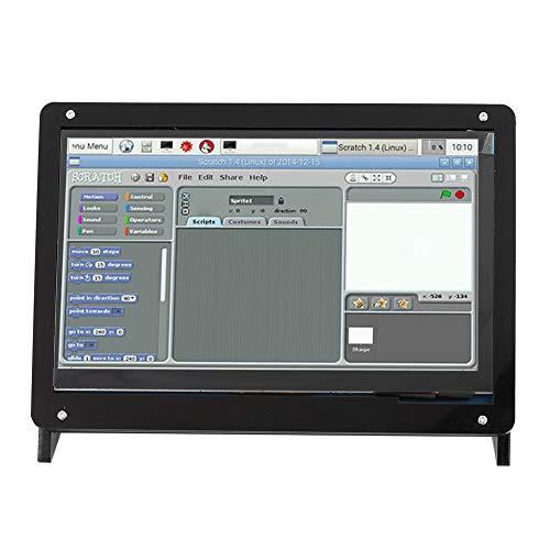 Gehäuse für Raspberry Pi, 7 Zoll 1024 * 600 HDMI-Display-Touchscreen-Gehäuse mit Kunststoffhalterung, kapazitiver IPS-Touch-Touchscreen, Vollansicht-Design(Kunststoffhalterung)