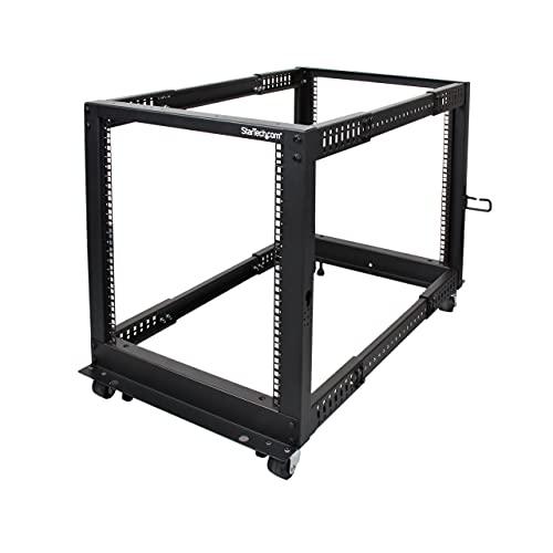 12HE 4 Pfosten Open Frame Server Rack tiefenverstellbar mit Rollen / Nivellierfüße und Kabelverwaltung - Dell PowerEdge HP ProLiant ThinkServer (4POSTRACK12U)