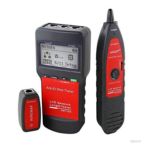 Tester per Cavi di Rete,KKmoon NF-8200 Tester LAN Professionale RJ45 RJ11 USB BNC Cavo Tester di Rete Monitoraggio Rete Tracker Tracciatore di Toni Anti-interferenza con Display LCD Retroilluminato
