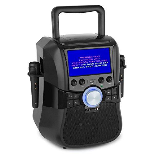 """aunaStage Hero - Mobile Karaoke-System, Karaoke-Anlage, Bluetooth und DVD, 7"""" TFT-Display, 2 x Mikrofon und Kabel, Akku- oder Netzbetrieb, schwarz"""