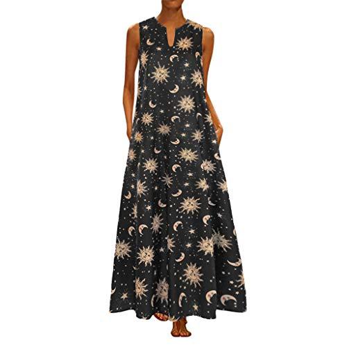 Ghazzi Women Dresses Womens Summer Sleeveless V Neck Sun Stars Moon Print Maxi Dress Casual Vintage Boho Long Maxi Dresses