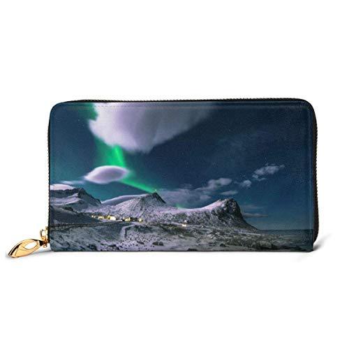 IUBBKI Carteras de Piel Carteras de Mujer Wallets Colorful Fog Credit Card Holder Organizer Ladies Purse Zipper Around Clutch Pocket
