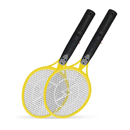 Vettora Electric Fly swatter 3 Layer Hollow Out Rechargeable | Bug Zapper - Best High Voltage Handheld Mosquito Killer | Wasp, Fly, Insect Trap Racket for Indoor (Hollow Out Yellow 2 Pack)