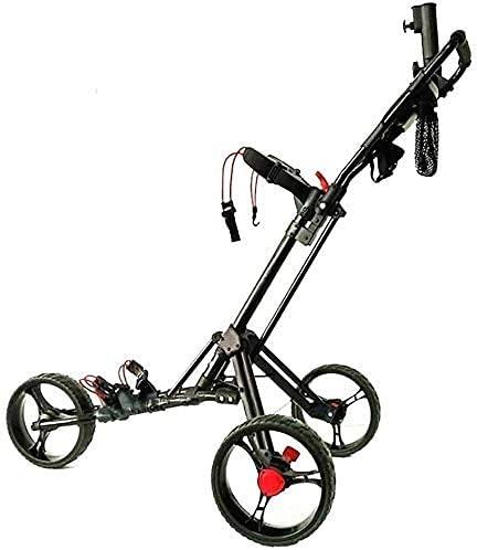 Carrito de Golf Trolley Golf Golf Push Push Carrito 3 ruedas Carrito de mano plegable Easy Push y Pull Carrito con soporte de paraguas y camisetas Abrir rápido y cerrar Carrito de golf (Color: Negro)
