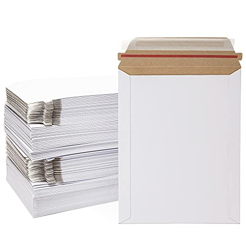 Rigid Stay Flat Mailers, Self-Seal Cardboard Envelopes (7x9 In, White, 100 Pack)
