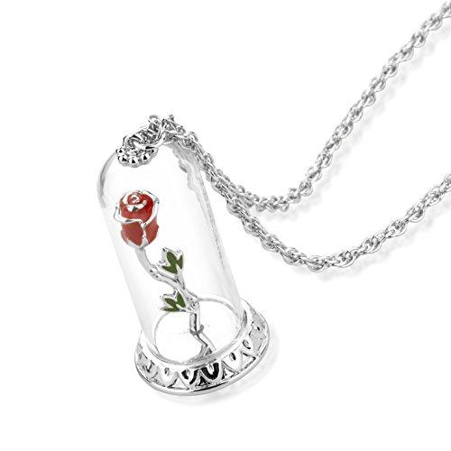 Disney Couture Collar con colgante de rosa encantada con tapa de cristal de La Bella y la Bestia, de oro blanco y cristal