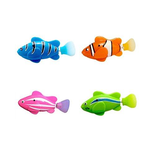 Ahagut Elektrische Fische Katze 4 Stück Katze Spielzeug Mini Roboter Fisch Schwimmen Roboter Fische für Kinder
