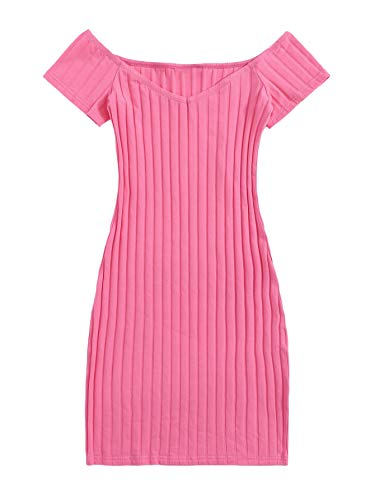 Floerns Women's Rib Knit Off Shoulder Short Sleeve Bodycon Dress Pink XS