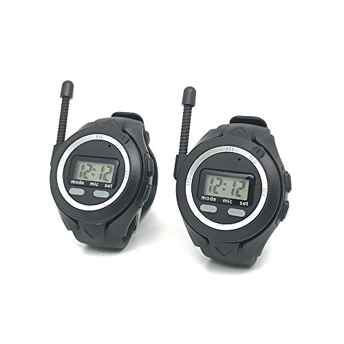 Emovendo 1 Mile Long Range Multi-Connection 3 FM Channels walkie Talkies Watch with Built-in Microphone and Speaker, Rechargeable Gift for Bicycle, Hiking, Camping, Running Outdoor Activity (2 Packs)