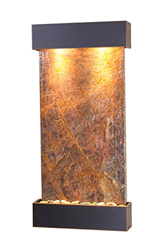 Whispering Creek Water Feature with Blackened Copper Trim and Square Edges (Brown Marble)