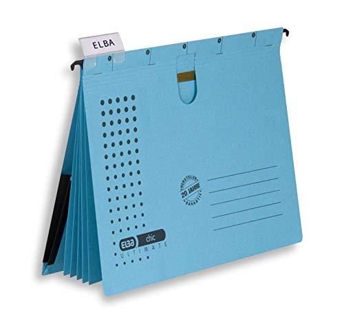ELBA Mehrfach-Hängehefter chic, für A4, aus Karton, blau, 5er Pack